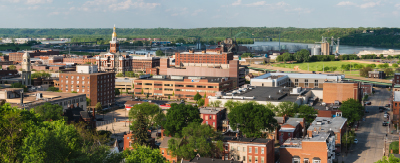 Photo overlooking downtown Dubuque Iowa